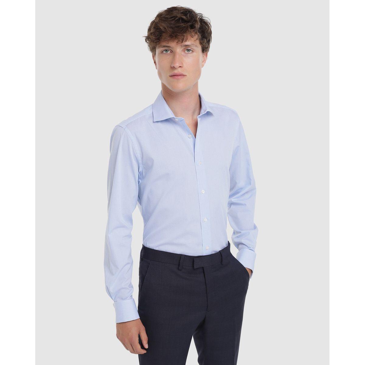 Chemise slim habillée repassage facile à carreaux bleu