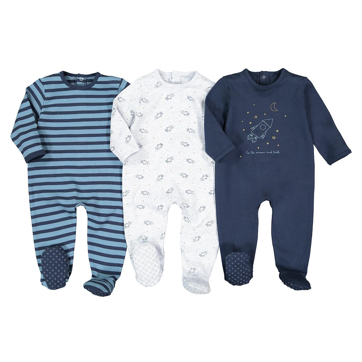 Комплект из 3 цельных пижам LaRedoute Из хлопка 0 мес - 3 года 1 мес. - 54 см серый пижама laredoute с носочками из велюра 0 мес 3 года 3 мес 60 см серый