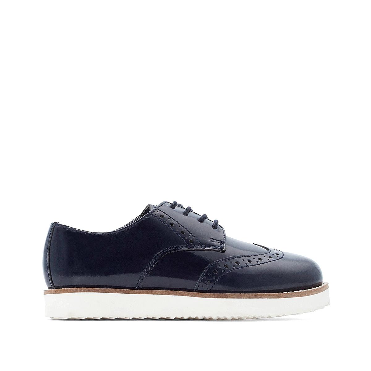 цена Ботинки-дерби La Redoute Лакированные размеры - 32 синий онлайн в 2017 году