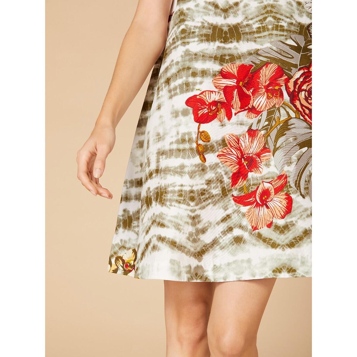 Платье La Redoute Прямое с цветочным рисунком и круглым вырезом без рукавов M зеленый платье прямое средней длины однотонное без рукавов