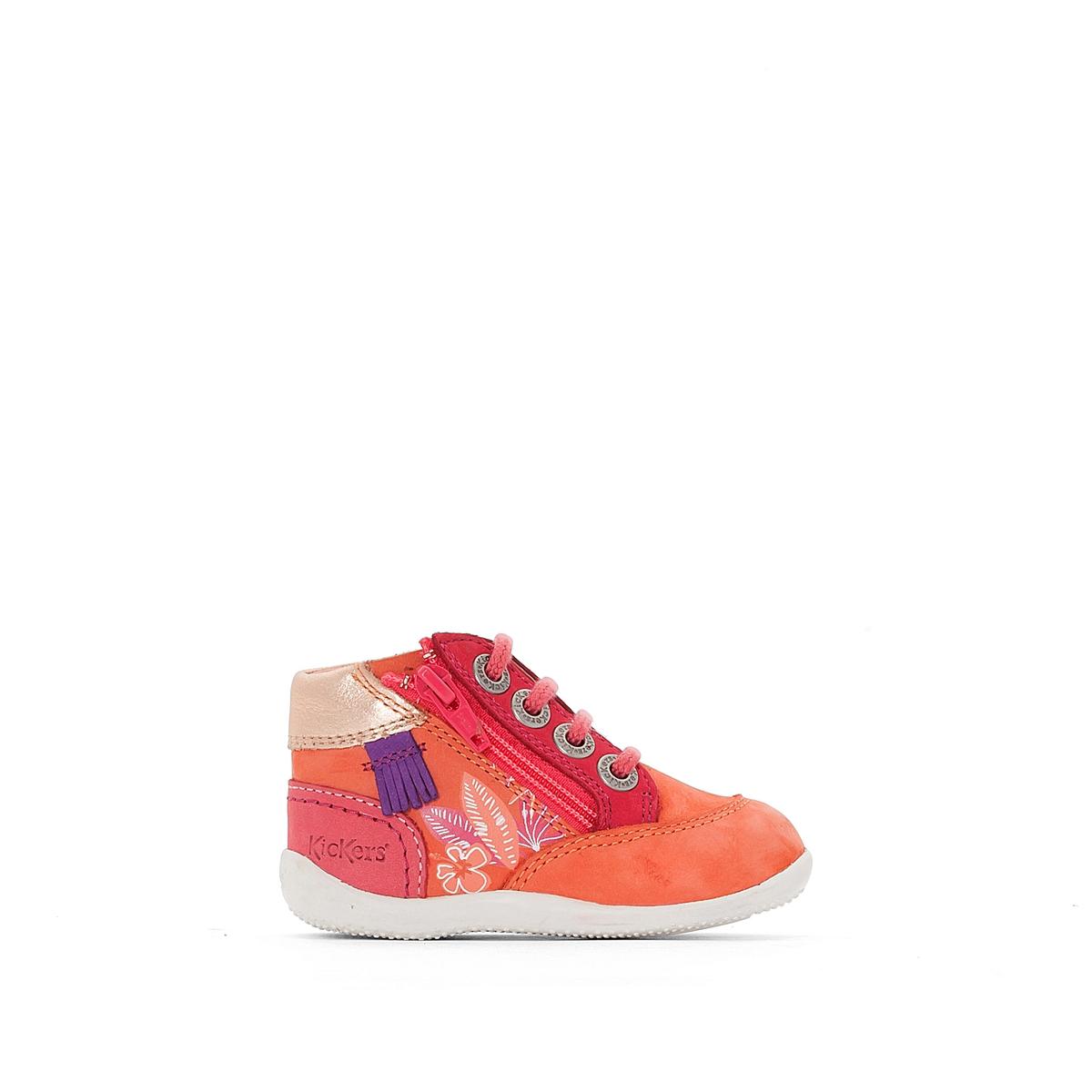 Ботинки Biflorid с цветочными деталямиВерх : нубук Подкладка : Без подкладки Стелька : ВелюрПодошва : Каучук Застежка : Шнуровка<br><br>Цвет: коралловый/ розовый<br>Размер: 19
