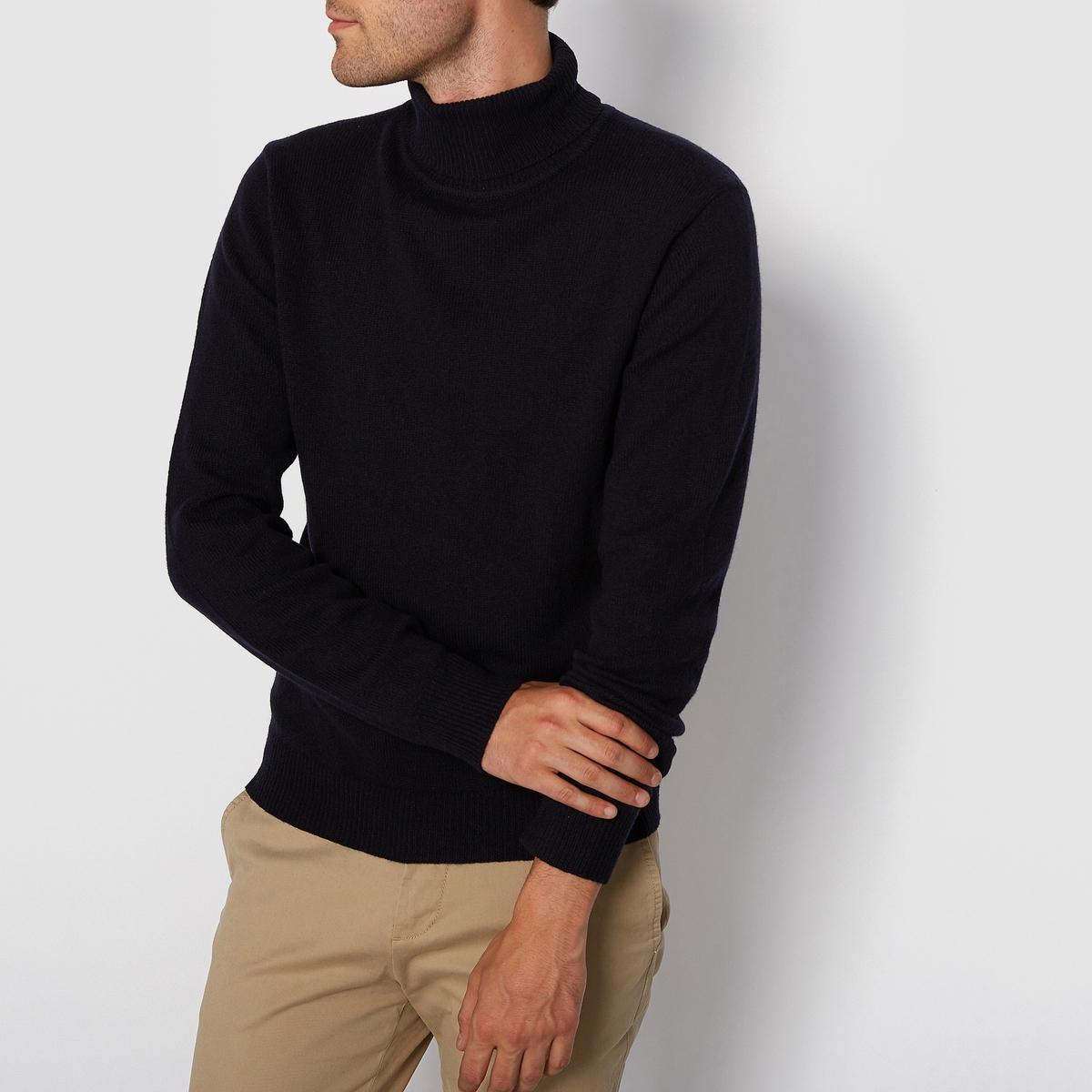 Пуловер с закатывающимся воротником 100% шерстьМатериал : 100% шерсть ягненка. Поярок.Пуловер с длинными рукавами.Воротник хомут.<br><br>Цвет: темно-синий