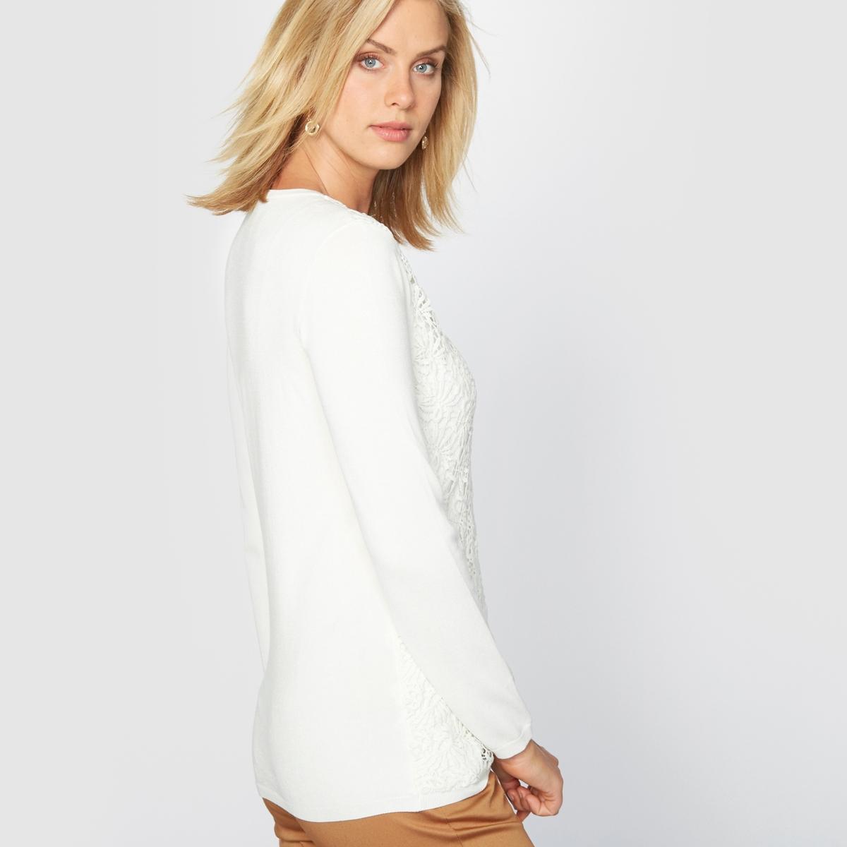 Пуловер гипюровыйОригинальный и очень элегантный пуловер. Круглый вырез. Аппликация из нежного гипюра спереди. Края связаны в рубчик . Приспущенные плечевые швы. Длинные рукава. Состав и описание :Материал : красивый трикотаж джерси, 80% вискозы, 20% полиамида. Длина: 62 см.Марка : Anne WeyburnУход :Машинная стирка при 30° на умеренном режиме с изнанки .Гладить на низкой температуре с изнанки.<br><br>Цвет: экрю