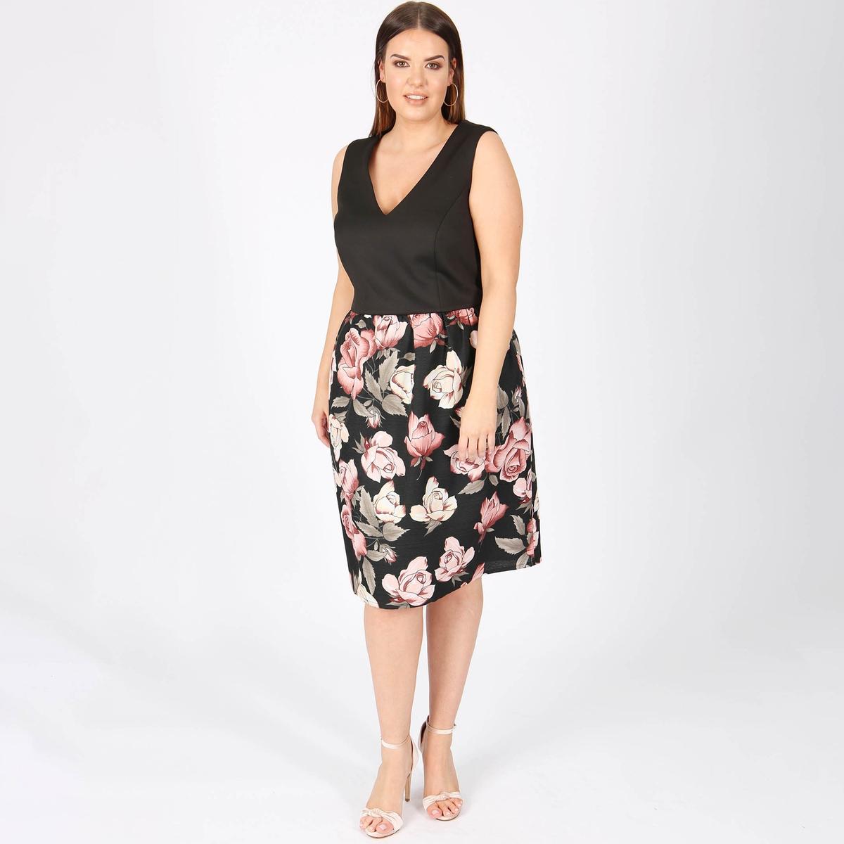 Платье без рукавов с цветочным принтом из двух материалов printio платье без рукавов
