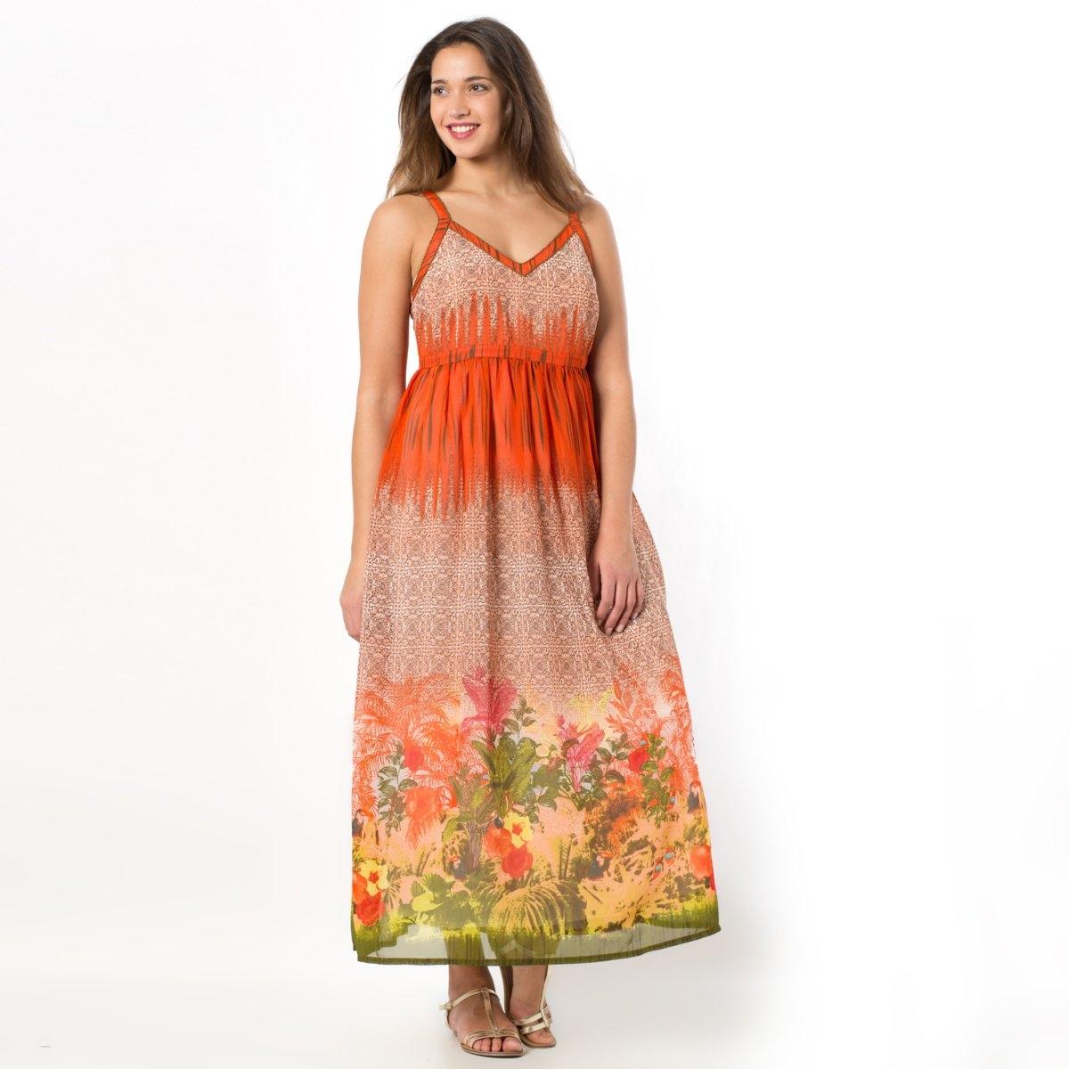 Платье длинноеПлатье. Длинная модель с чудесным тропическим рисунком. Бретели, вырез и проймы украшены бусинами. Вставка со складками на поясе. 100% полиэстера. Длина 140 см.<br><br>Цвет: рисунок тропики<br>Размер: 46 (FR) - 52 (RUS)
