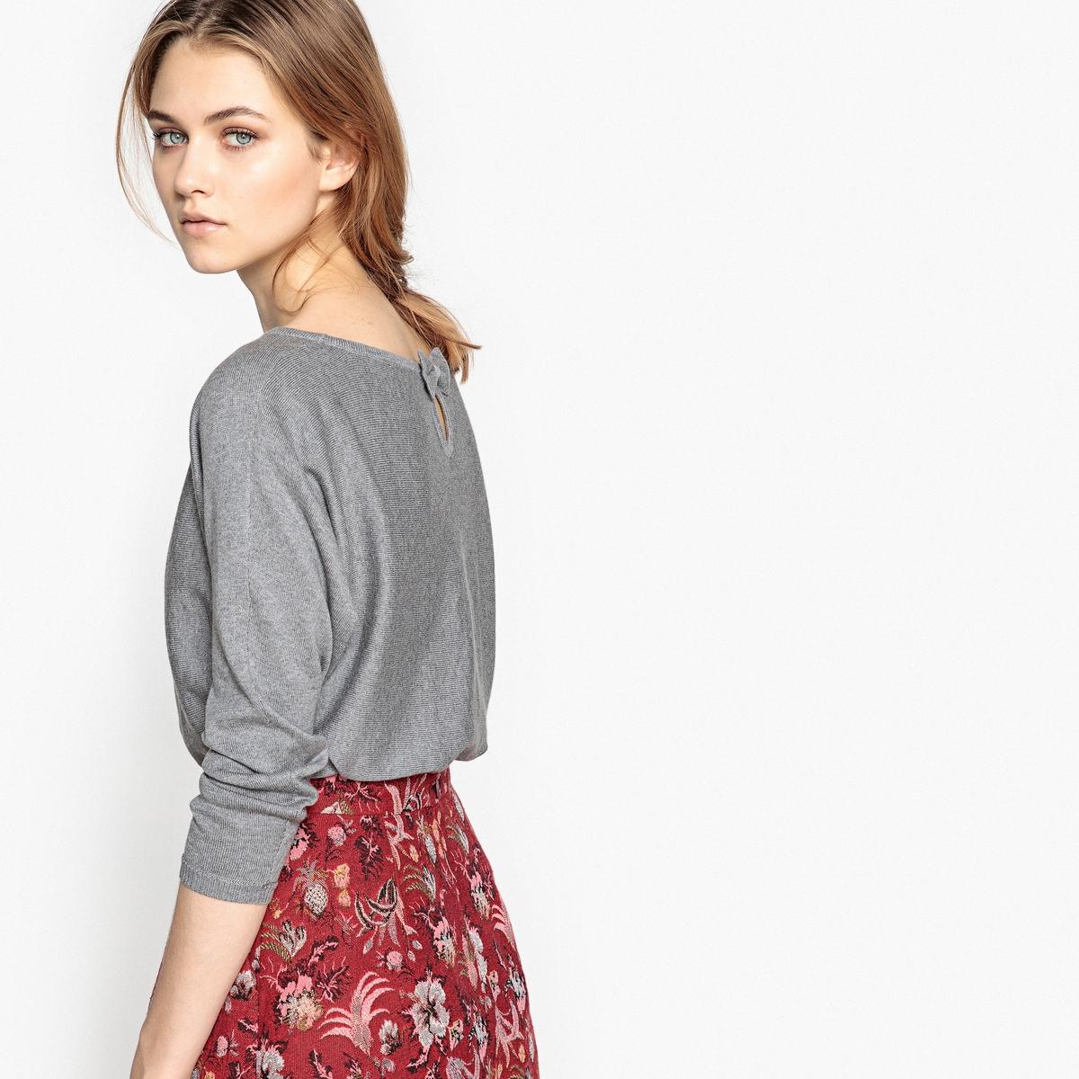 Пуловер с вырезом-лодочкой и оригинальной спинкой