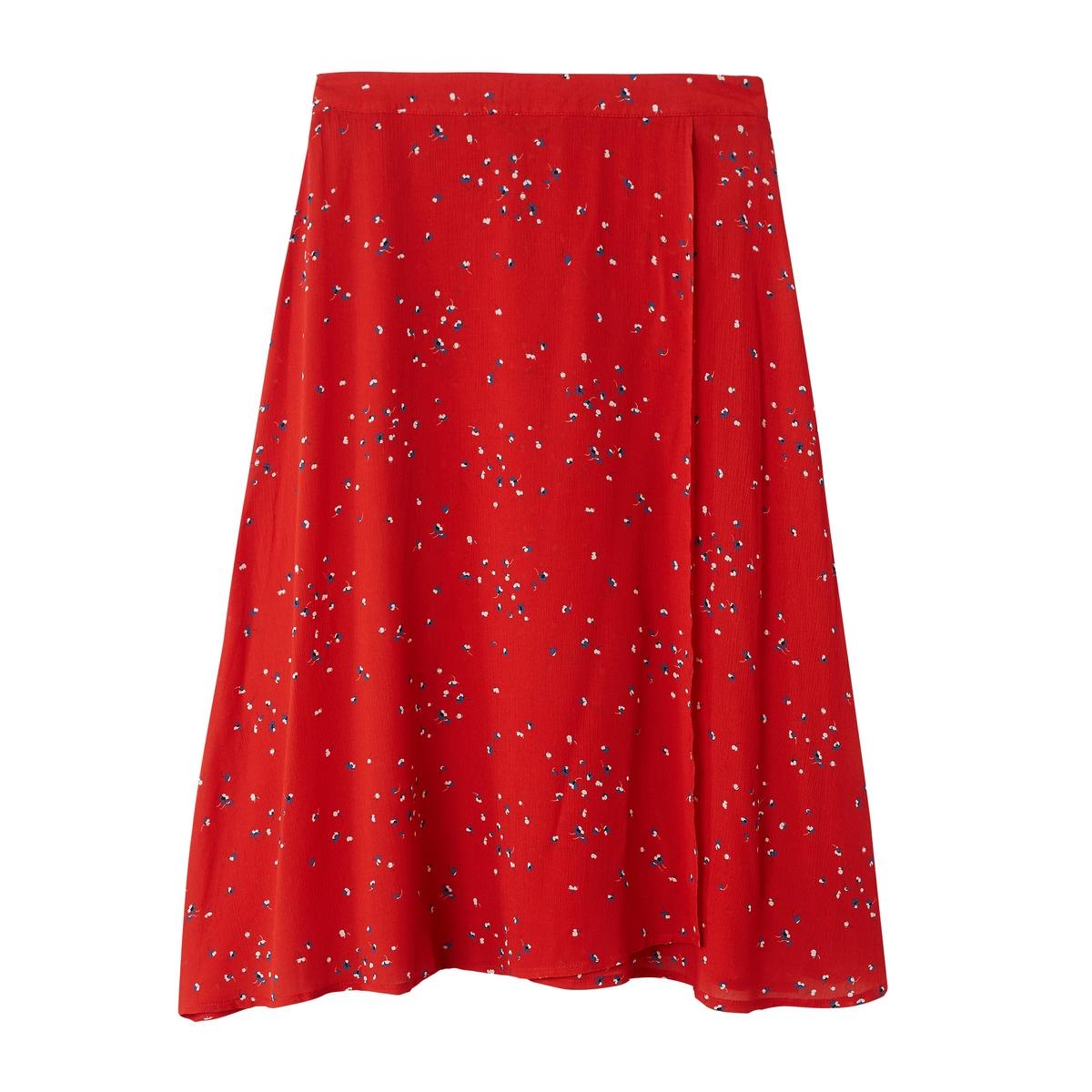 Falda midi vaporosa con estampado floral