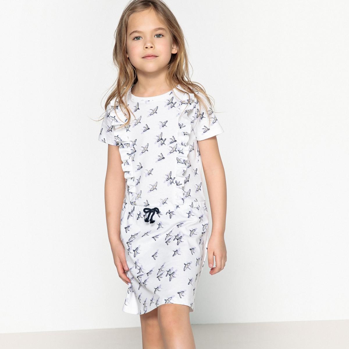 Платье с рисунком аист 3-12 лет
