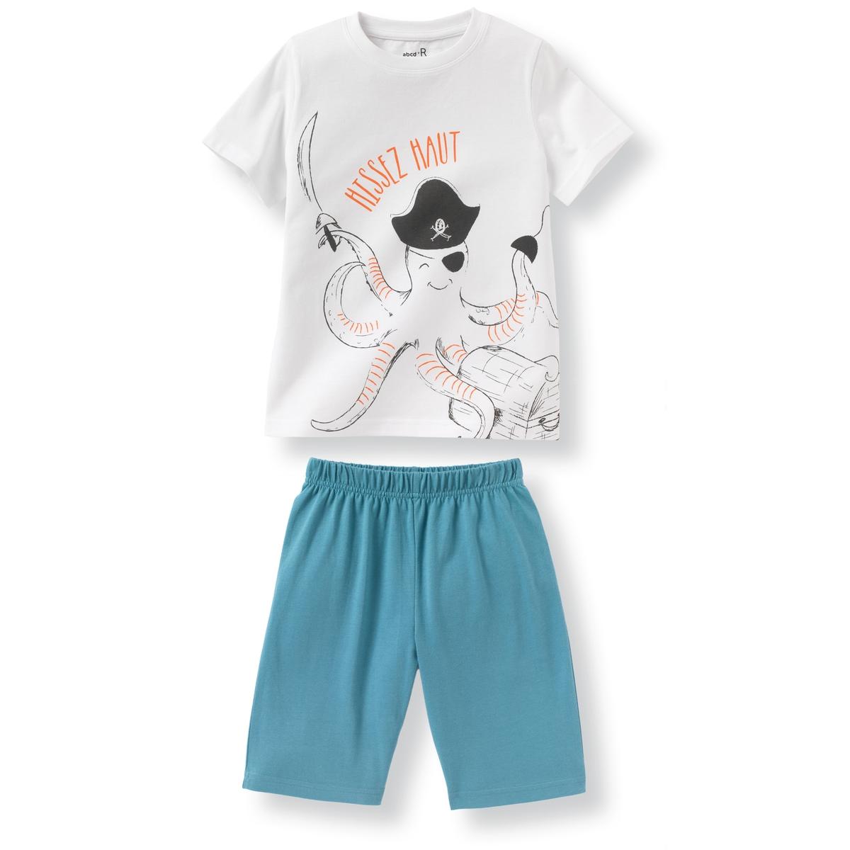 Пижама с шортами с рисунком осьминог из хлопка, 2-12 лет