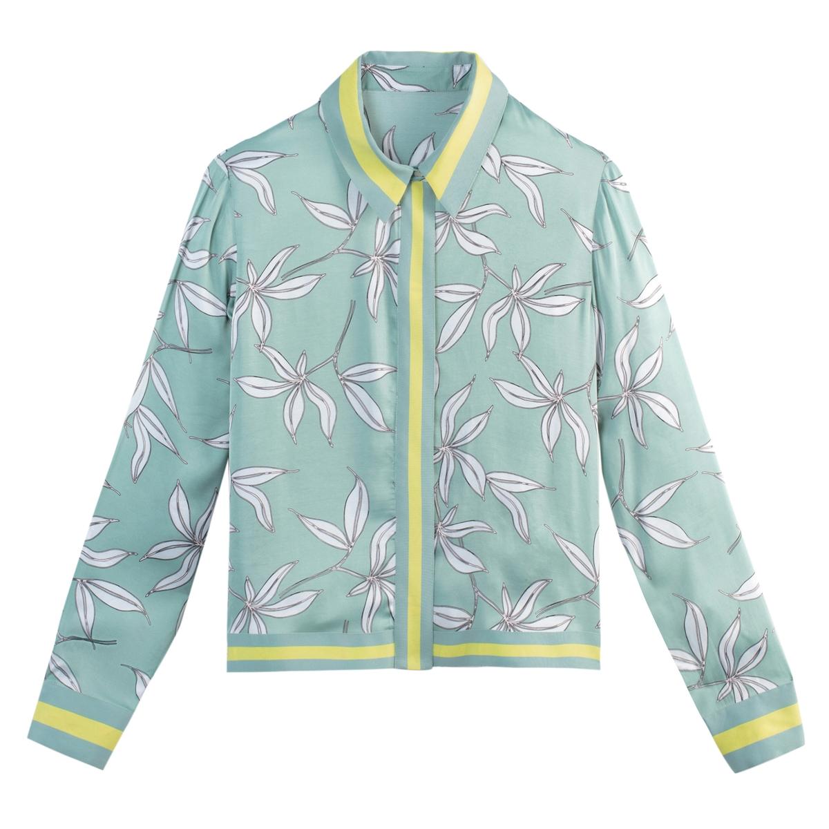 Camisa com estampado floral, mangas compridas
