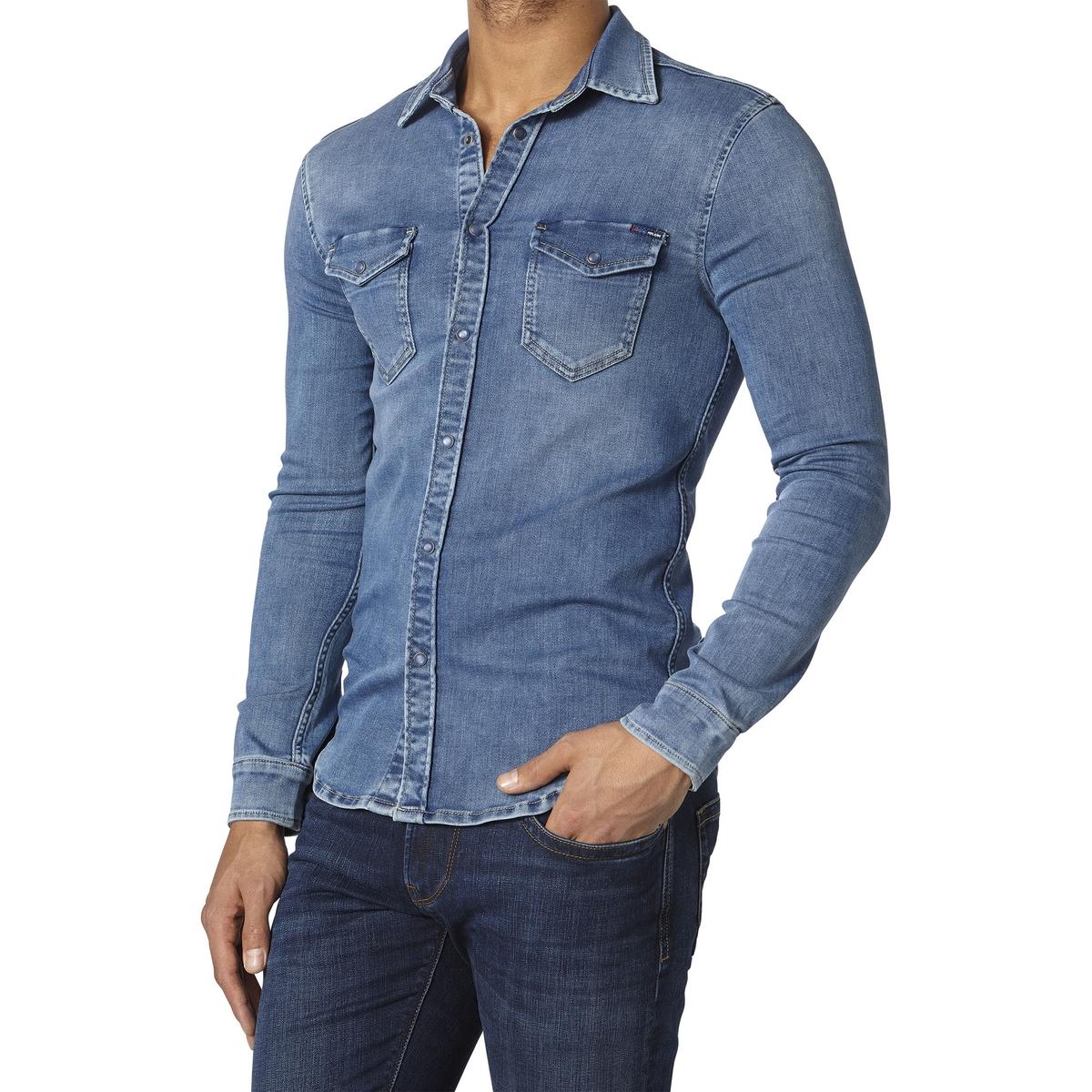 Рубашка однотонная с длинными рукавамиДетали •  Длинные рукава •  Приталенный покрой  •  Классический воротникСостав и уход •  80% хлопка, 1% эластана, 19% эластомультиэстера •  Следуйте советам по уходу, указанным на этикетке<br><br>Цвет: синий