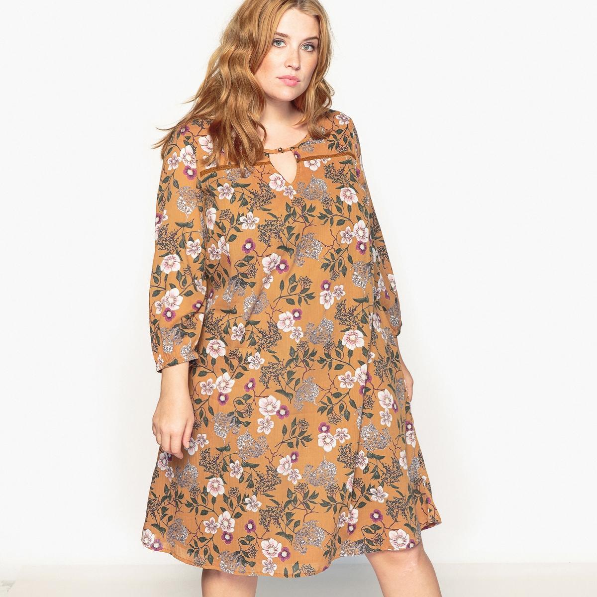 Платье прямое с цветочным рисунком и длинными рукавамиОписание:Модное платье с цветочным рисунком в богемном стиле. Очень женственное платье с цветочным рисунком будет незаменимо в этом году.Детали •  Форма : прямая •  Длинное •  Длинные рукава    •  Круглый вырез •  Цветочный рисунокСостав и уход •  100% хлопок •  Подкладка : 100% полиэстер •  Температура стирки 30° •  Сухая чистка и отбеливание запрещены •  Не использовать барабанную сушку •  Низкая температура глажкиТовар из коллекции больших размеров<br><br>Цвет: цветочный рисунок<br>Размер: 44 (FR) - 50 (RUS)