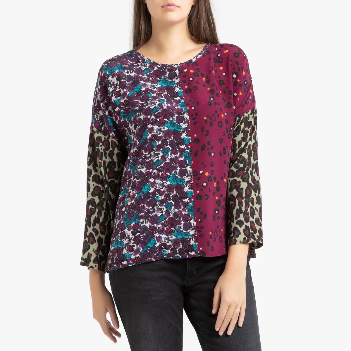 Блузка La Redoute Из шелка с длинными рукавами GERS S/M красный блузка la redoute с круглым вырезом цветочным рисунком и длинными рукавами s черный