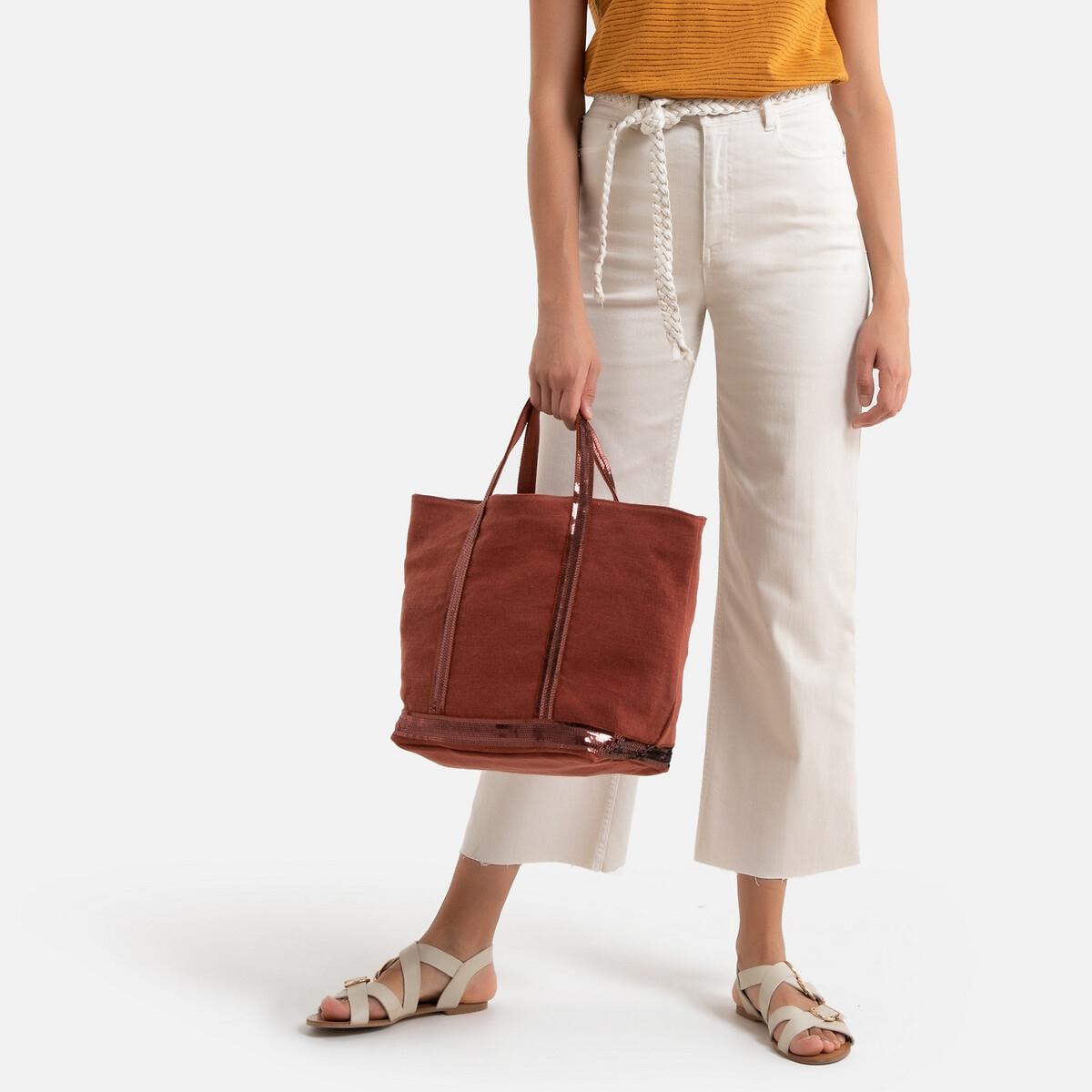Фото - Сумка-шоппер La Redoute Из льна с пайетками единый размер оранжевый сумка шоппер средняя из парусины с блестками