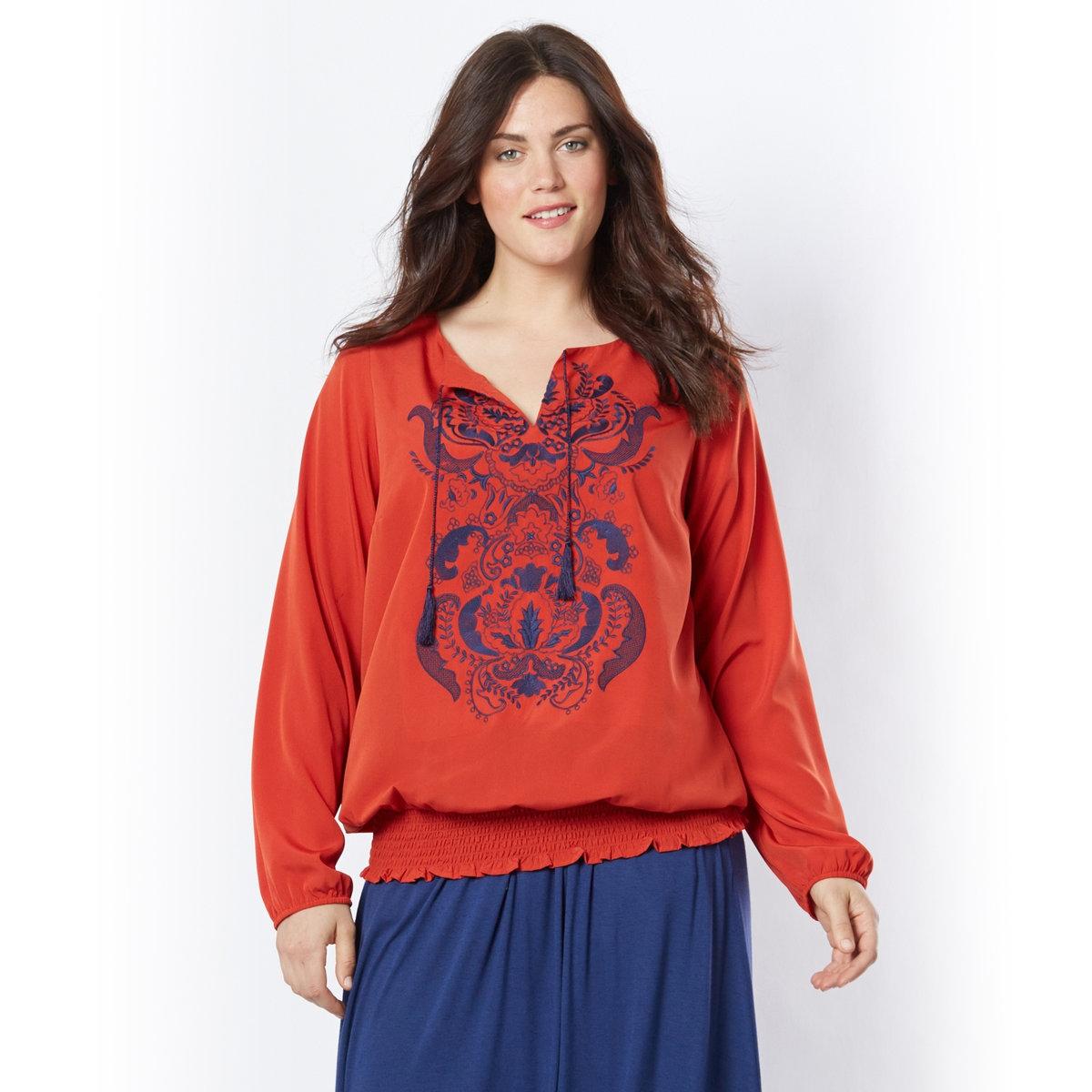 БлузкаБлузка. Невероятно женственная блузка с вырезом, подчеркнутым вышивкой и складками по талии. Декоративные завязки на вырезе. Длинные рукава. Эластичные края рукавов и низа. 100% полиэстера. Длина 68 см.<br><br>Цвет: оранжевый<br>Размер: 42 (FR) - 48 (RUS)