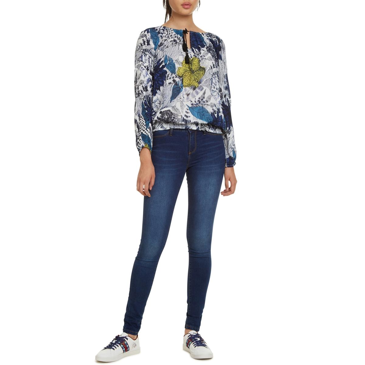 Blusa vaporosa con estampado de flores, manga larga