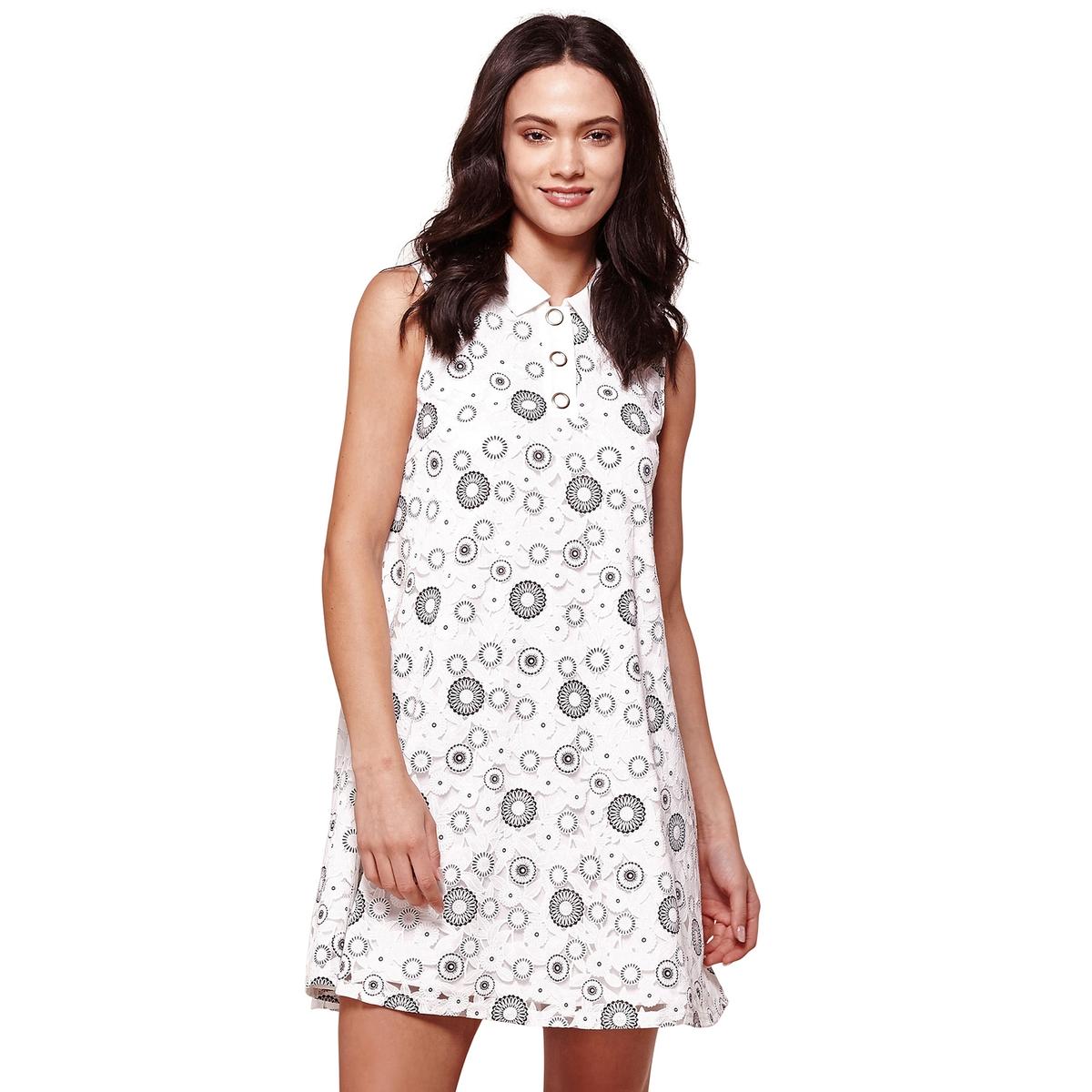 Платье расклешенное без рукавов с рисунком от YUMI