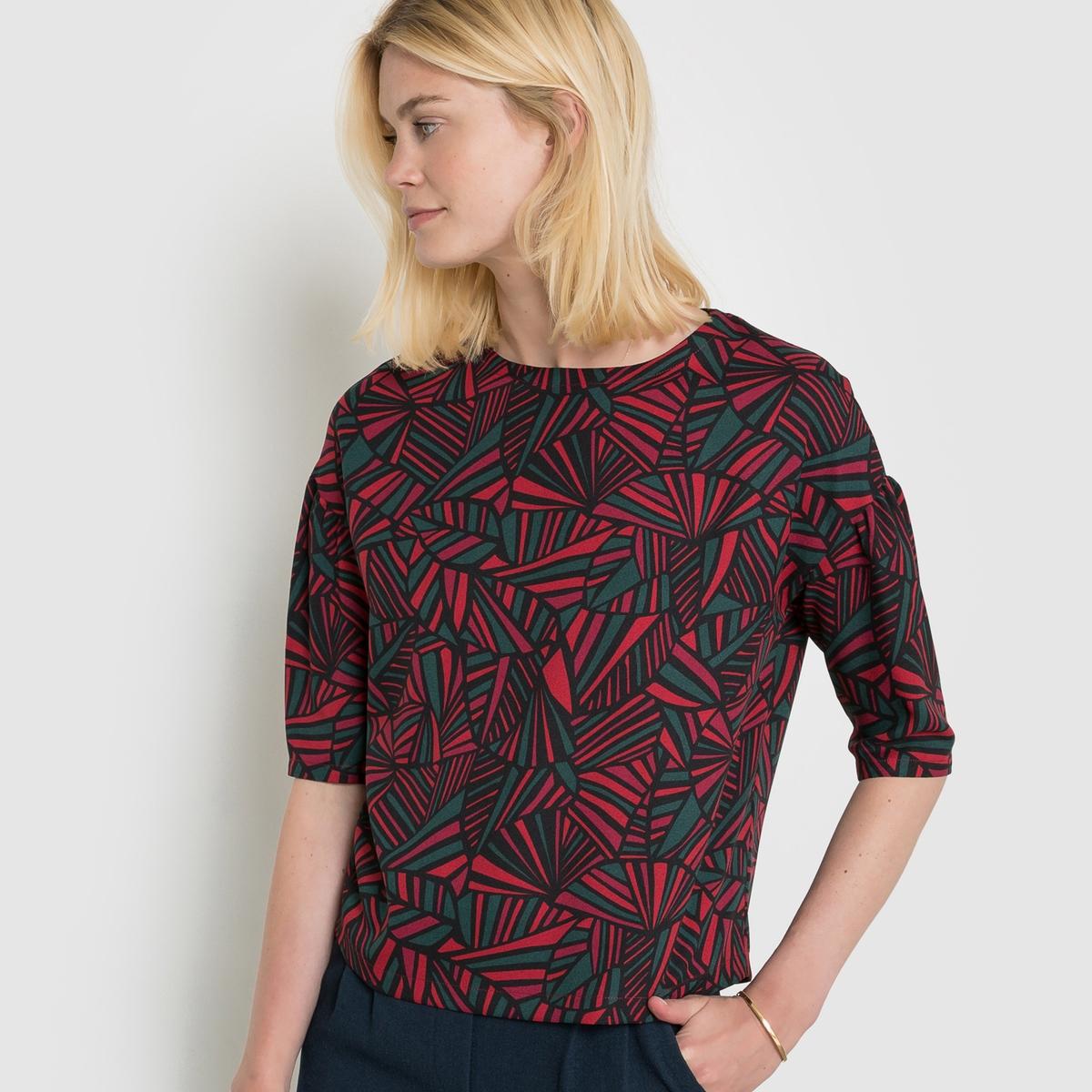 Блузка с графичным рисункомСтруящаяся блузка свободного покроя с графичным рисунком. Круглый вырез. Рукава 3/4 с эффектом рукавов-фонариков. Состав и описаниеМатериал: 100% полиэстераДлина 60 см Марка:R essentiel.  УходМашинная стирка при 30° с одеждой такого же цвета.Машинная сушка на умеренном режимеСтирать и утюжить с изнаночной стороныГладить на низкой температуре<br><br>Цвет: графичный рисунок