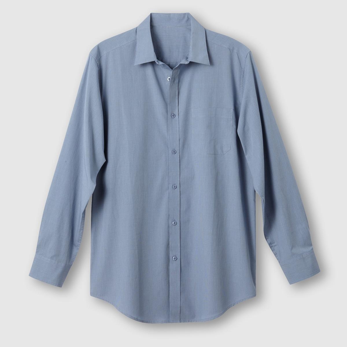 Рубашка из поплина, рост 2 (от 1,76 до 1,87 м)Рубашка с длинными рукавами.  Из оригинального поплина в полоску или в клетку с окрашенными волокнами. Воротник со свободными уголками. 1 нагрудный карман. Складка с вешалкой сзади. Слегка закругленный низ.Поплин, 100% хлопок. Рост 2 (при росте от 1,76 до 1,87 м) :  длина рубашки 85 см, длина рукава 65 см. Есть модели на рост 1 и 3.<br><br>Цвет: в клетку серый/синий<br>Размер: 43/44