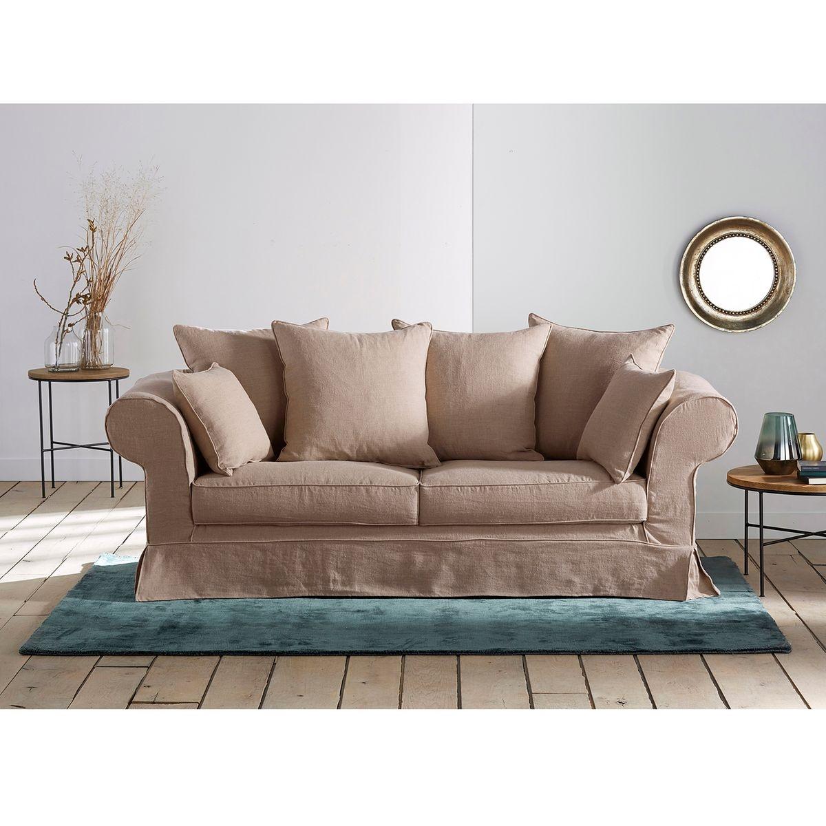 Canapé droit 4 places Noir Tissu Confort