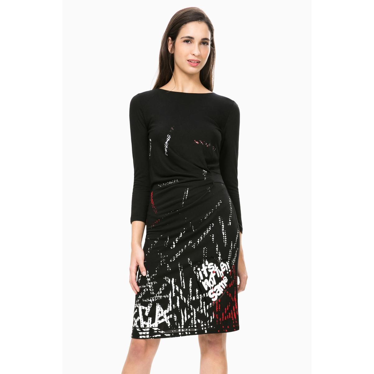 Платье прямое с длинными рукавами, Vest CastaliaСостав и описаниеМарка : DESIGUALМодель : Vest CastaliaМатериал : 100% вискозы<br><br>Цвет: черный<br>Размер: XL