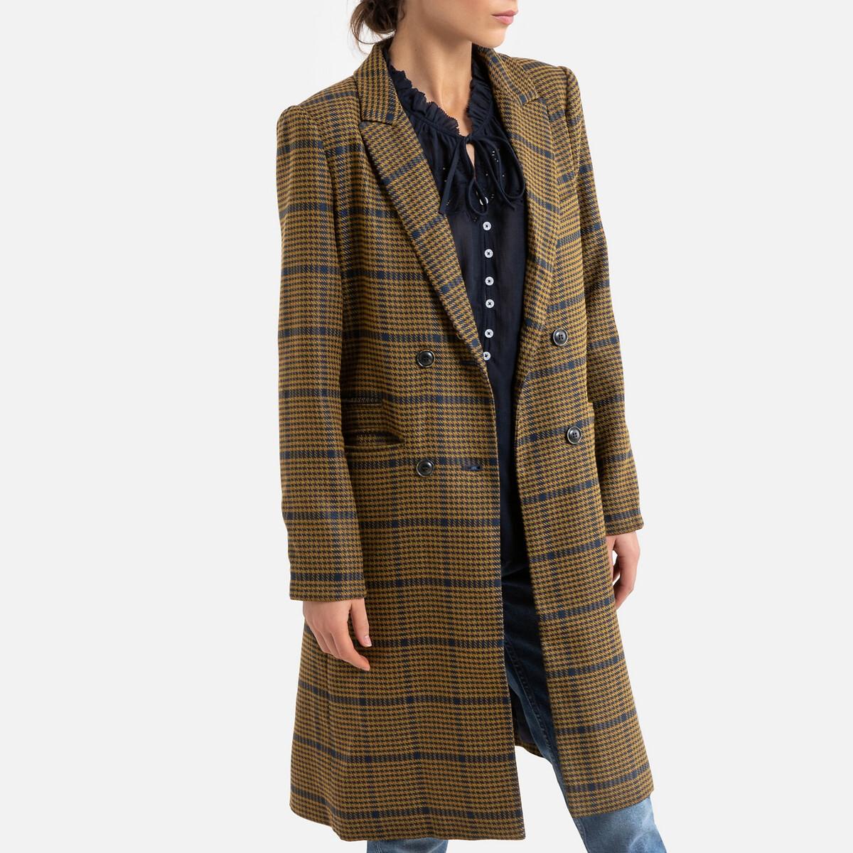 Пальто LaRedoute Средней длины в клетку XL синий