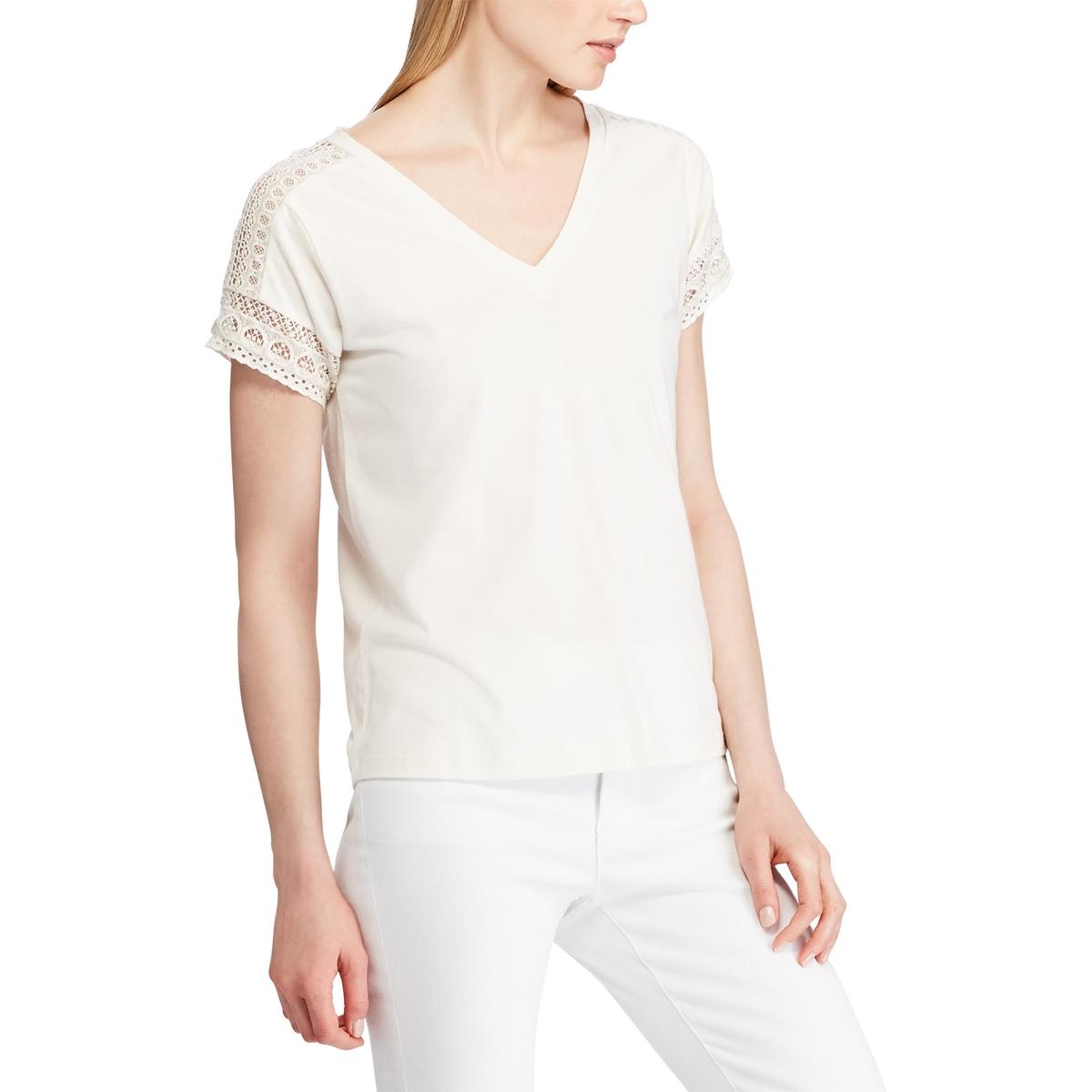 Блузка La Redoute С V-образным вырезом короткими рукавами и кружевом M бежевый футболка la redoute с v образным вырезом короткими рукавами и принтом спереди l белый