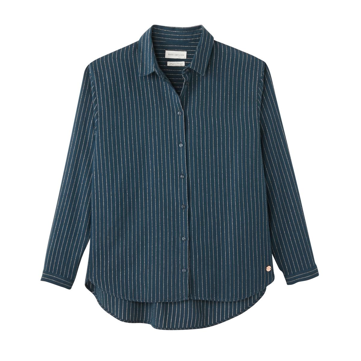 Рубашка в блестящую полоску CELESTINEРубашка HARRIS WILSON - модель CELESTINE из хлопкового деликатного твила с тонкими блестящими полосками.Описание •  Длинные рукава  •  Прямой покрой  •  Воротник-поло, рубашечный  •  Рисунок в полоску Состав и уход •  98% хлопка, 1% металлизированных волокон, 1% полиэстера •  Следуйте рекомендациям по уходу, указанным на этикетке изделия   •  Спина и воротник с горизонтальными блестящими полосками •  Складки сзади •  Низ слегка закругленный<br><br>Цвет: сине-зеленый