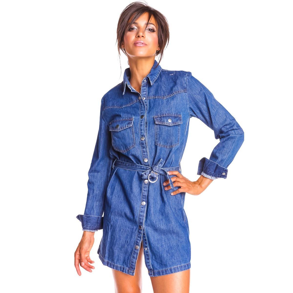 Robe chemise en jean boutonnée