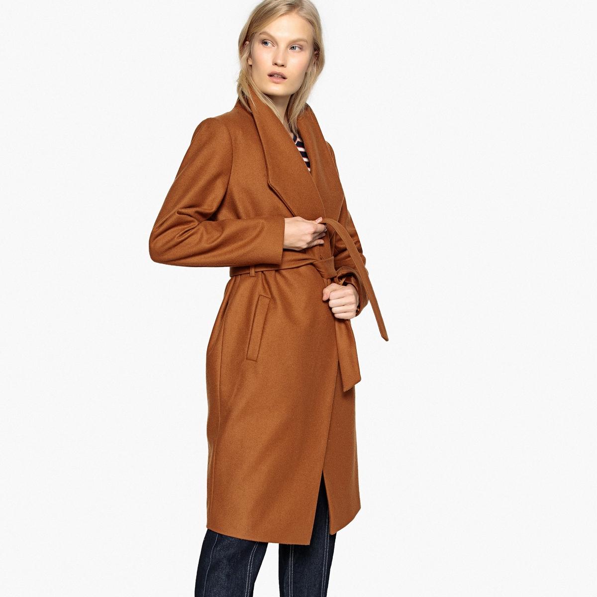 Пальто в форме халата с поясом из полушерстяной ткани