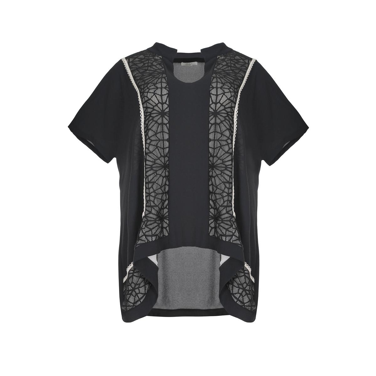 БлузкаБлузка, MAT FASHION. Женственная блузка с кружевом и золотистой отделкой спереди и сзади . Короткие рукава. V-образный вырез. 96% полиэстера, 4% эластана..<br><br>Цвет: черный<br>Размер: 48/50 (FR) - 54/56 (RUS)