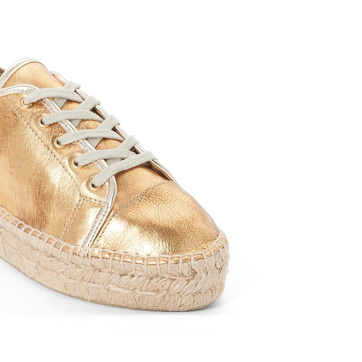 Эспадрильи 10701-3YUВерх : Кожа.   Подкладка : Кожа.   Стелька : синтетика   Подошва : синтетика   Высота каблука : 1 см.   Форма каблука : плоский каблук   Мысок : закругленный   Застежка : шнуровка<br><br>Цвет: золотистый<br>Размер: 40.37