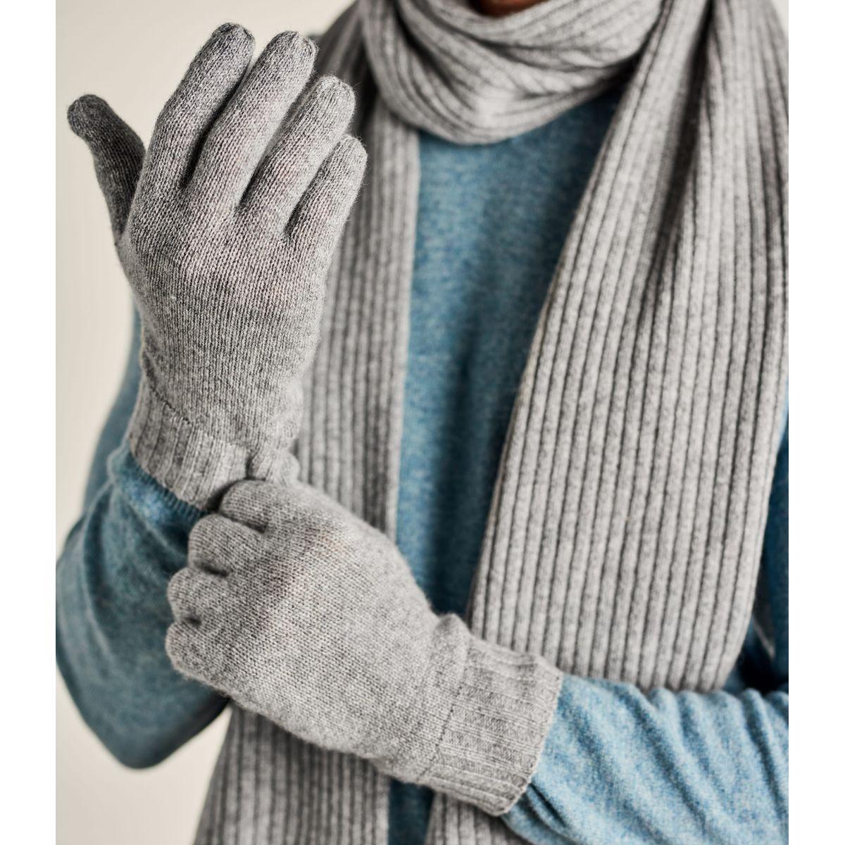 Gants côtelés luxueux pur cachemire
