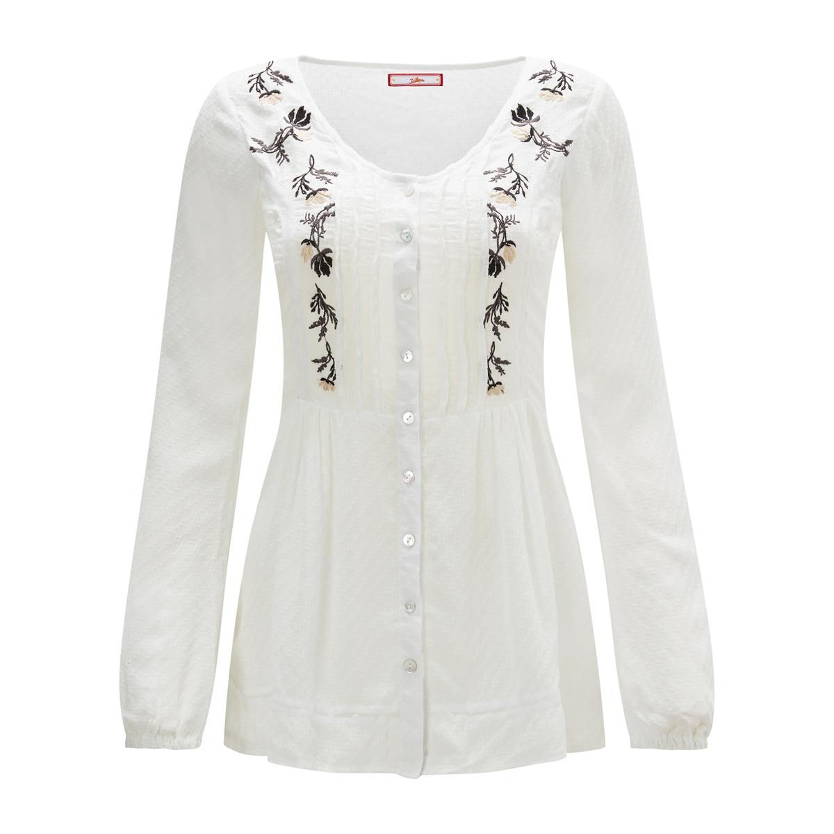 Рубашка La Redoute С круглым вырезом длинными рукавами с вышивкой 40 (FR) - 46 (RUS) белый свитшот la redoute с круглым вырезом и вышивкой s черный