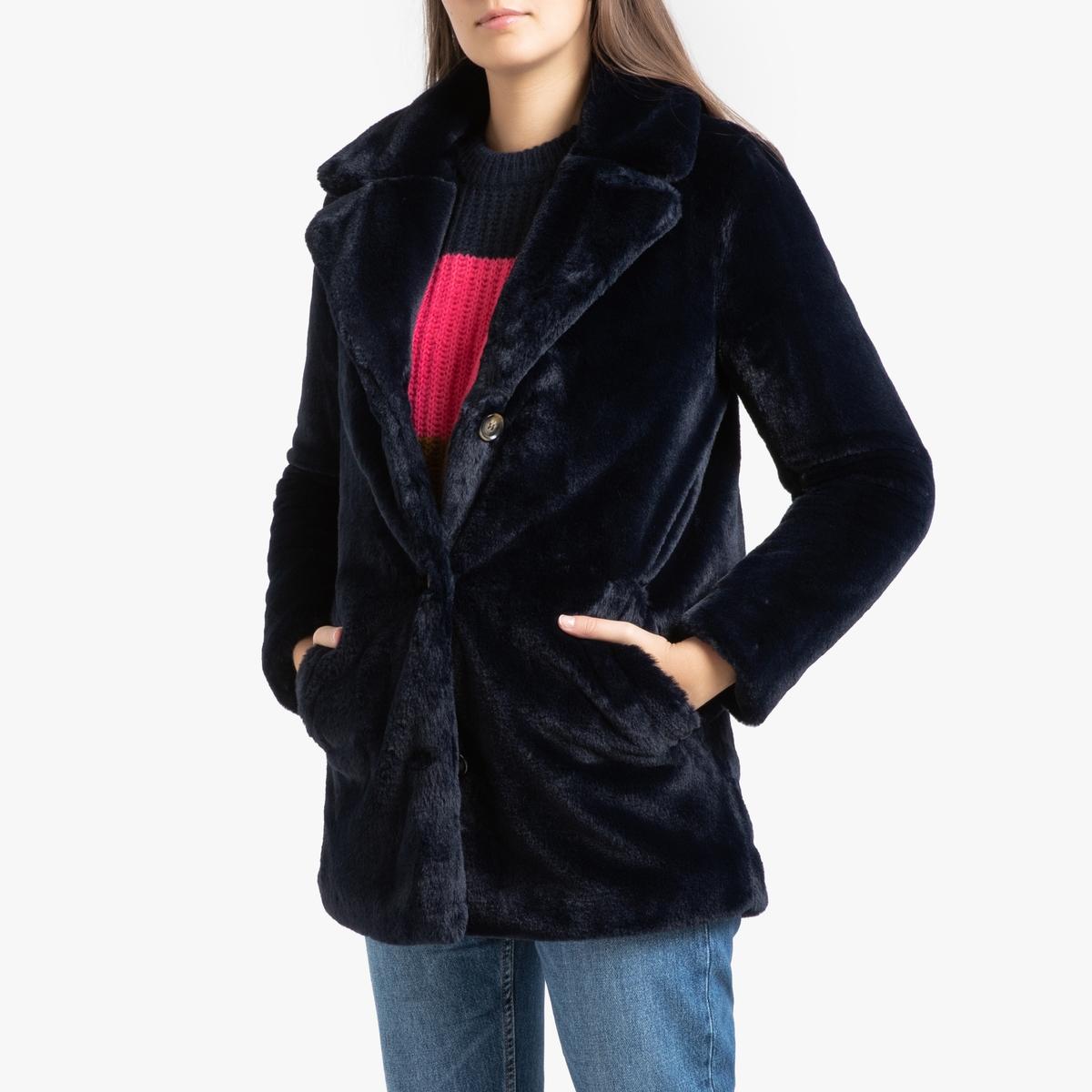 все цены на Пальто La Redoute Длинное с застежкой на пуговицы из искусственного меха USER XS синий онлайн