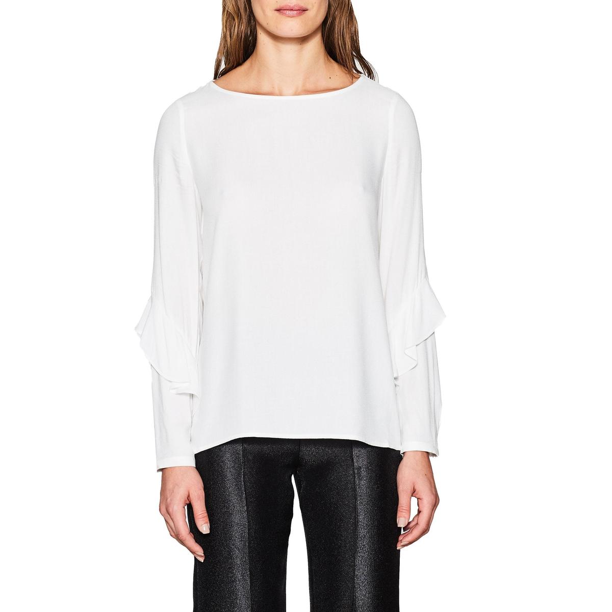 Blusa recta con cuello tunecino lisa, de manga larga