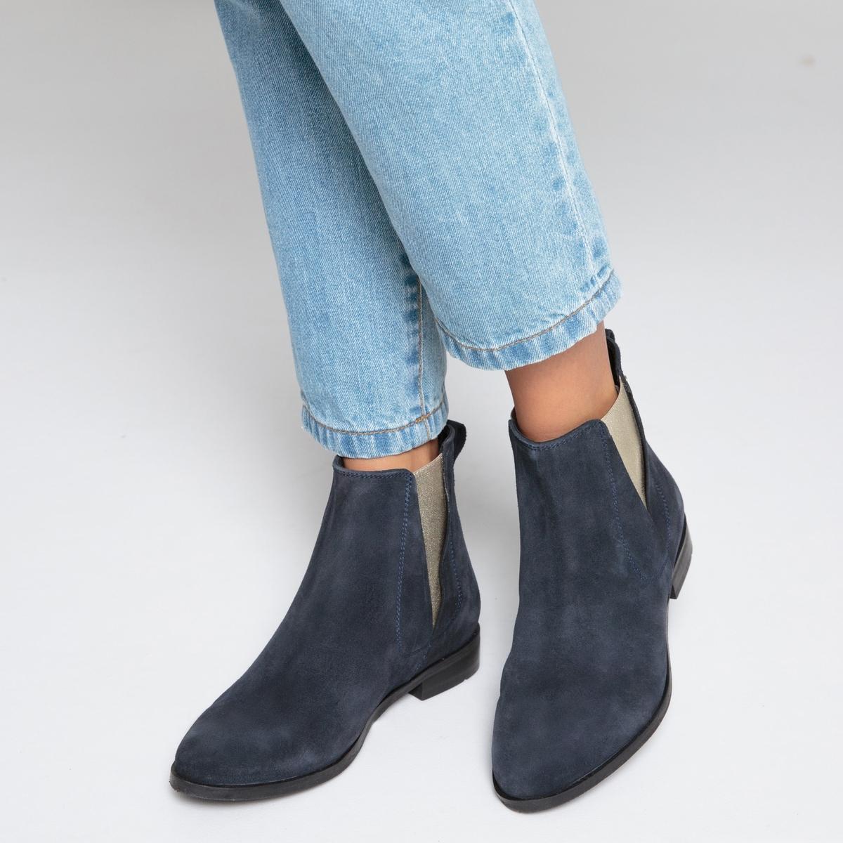 Ботинки-челси кожаные с металлизированными эластичными вставками