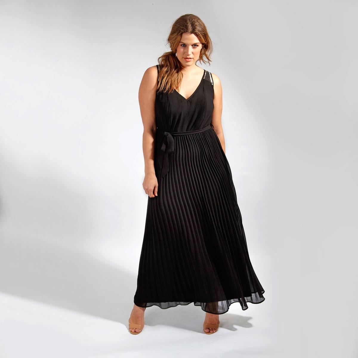 Платье длинноеДлинное платье LOVEDROBE без рукавов. Завязки на поясе. Юбка с эффектом плиссе. Оригинальные детали из бисера на бретелях. 100% полиэстер<br><br>Цвет: черный<br>Размер: 48 (FR) - 54 (RUS).44 (FR) - 50 (RUS)