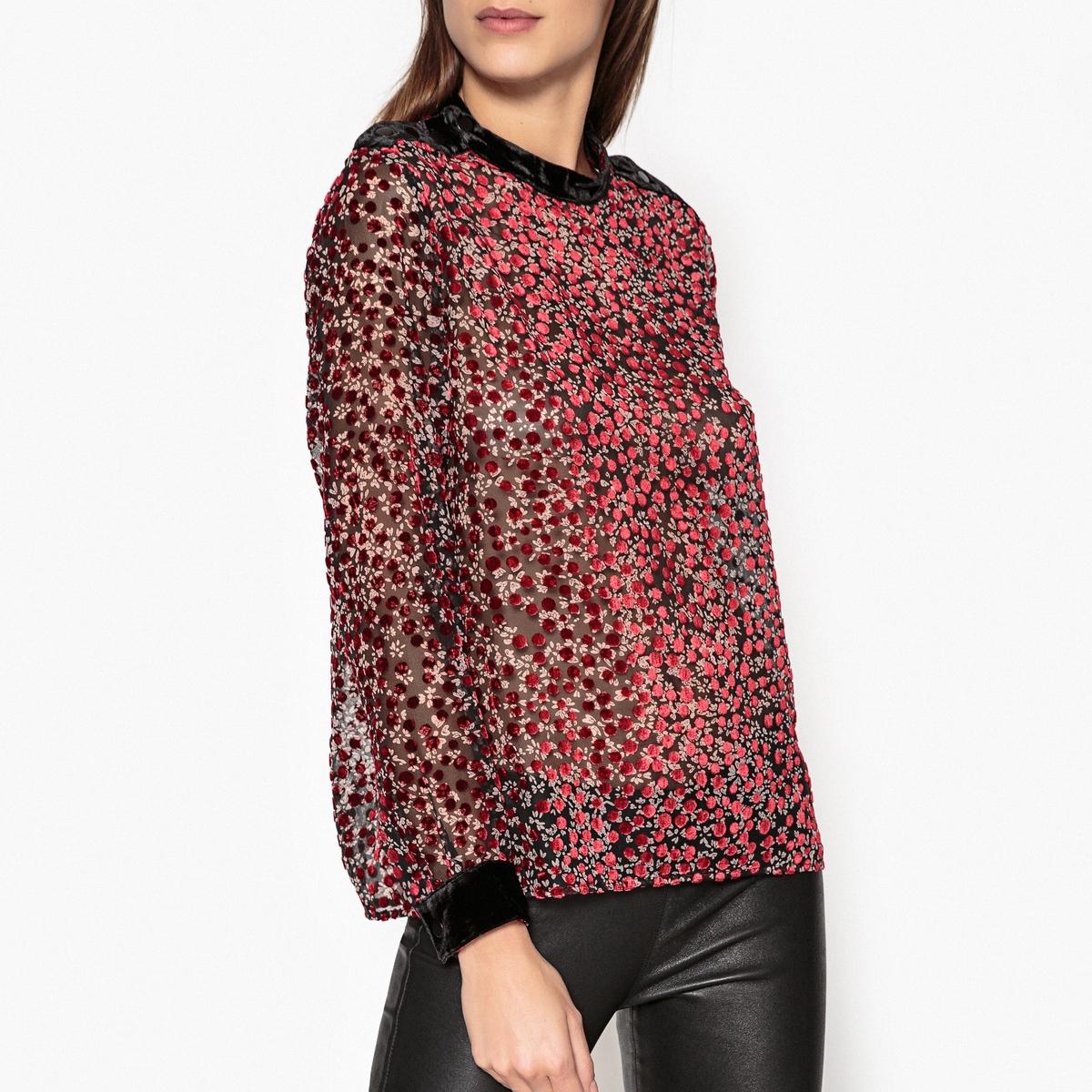 Блузка с круглым вырезом, рисунком и длинными рукавами
