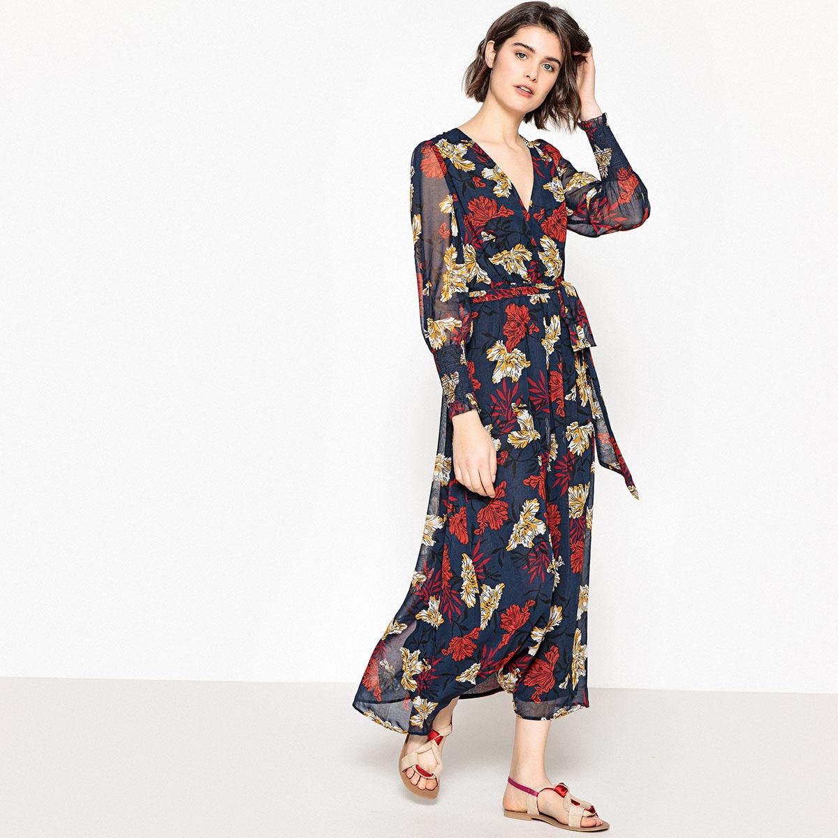 Платье-макси с цветочным рисунком и длинными рукавами платье с запахом длинными рукавами и цветочным рисунком