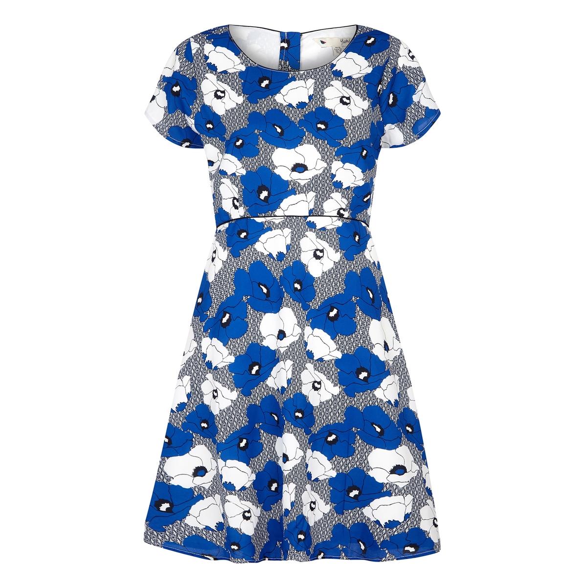 Платье короткое расклешенное с цветочным рисунком overall yumi overall