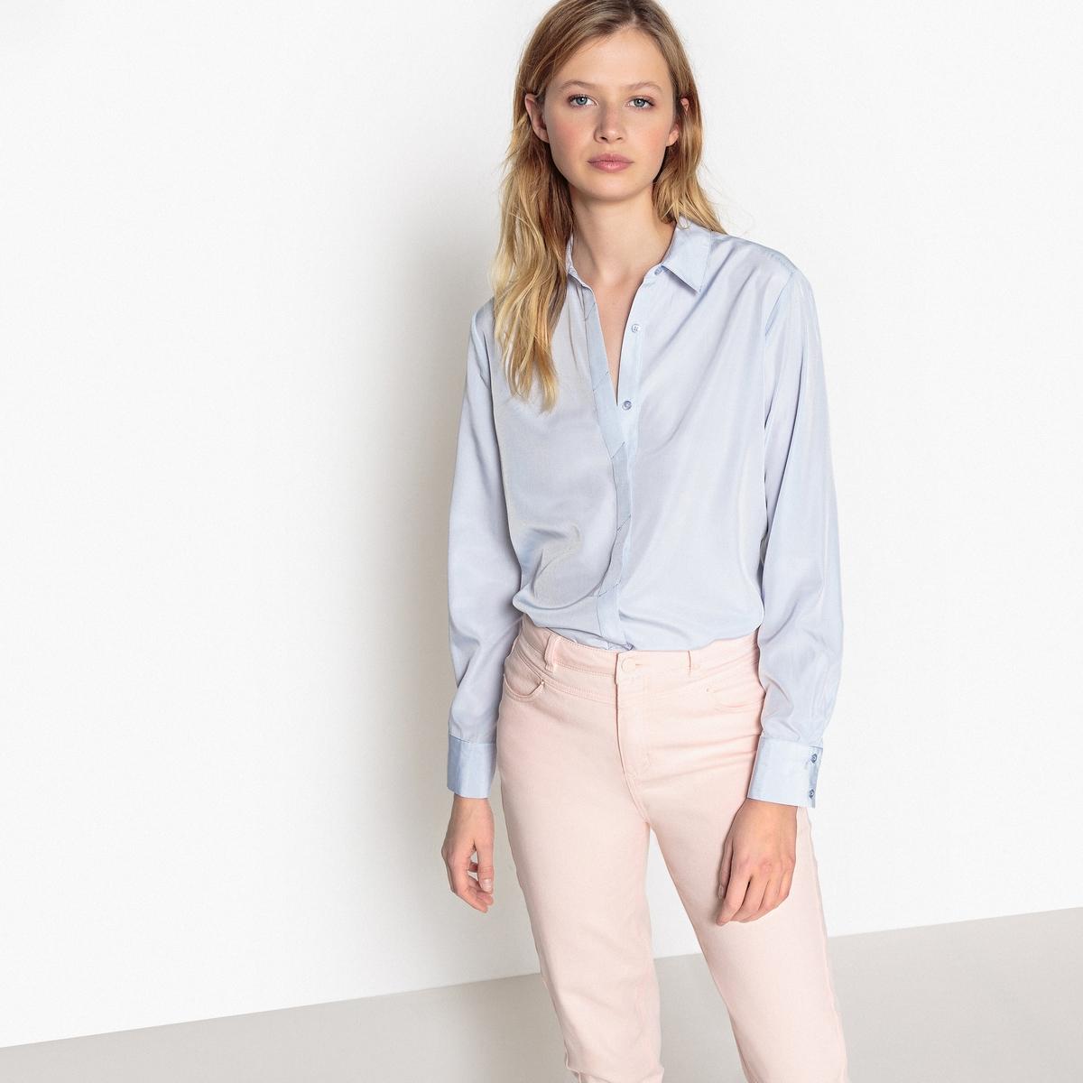 Блузка с блестящим эффектом и скрытой планкой застежки на пуговицы