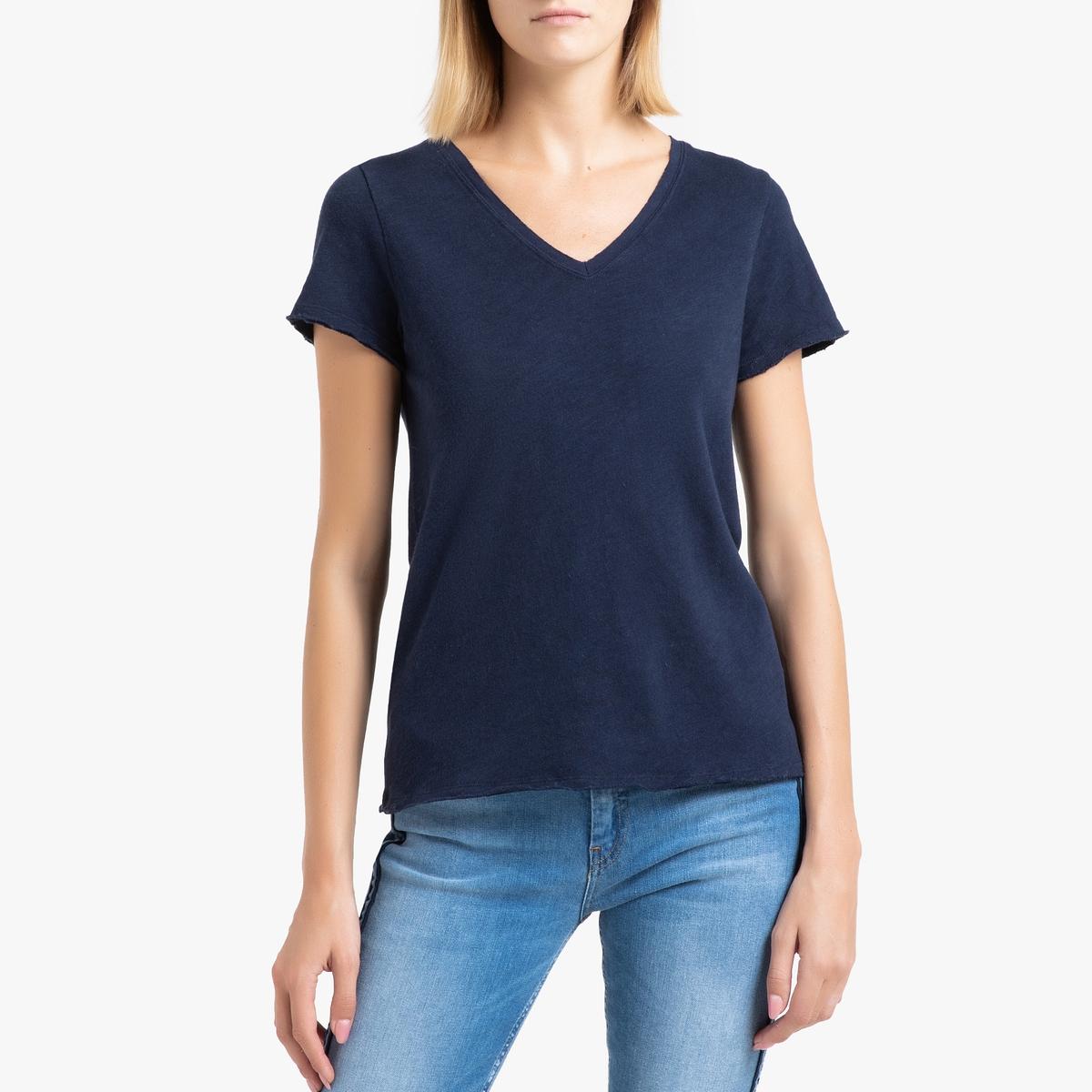 Футболка La Redoute С v-образным вырезом и короткими рукавами SONOMA M синий футболка la redoute с v образным вырезом короткими рукавами и принтом спереди l белый