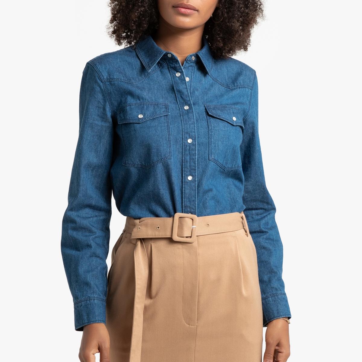 Рубашка La Redoute Джинсовая с длинными рукавами 34 (FR) - 40 (RUS) синий рубашка la redoute джинсовая узкая jjesheridan s синий