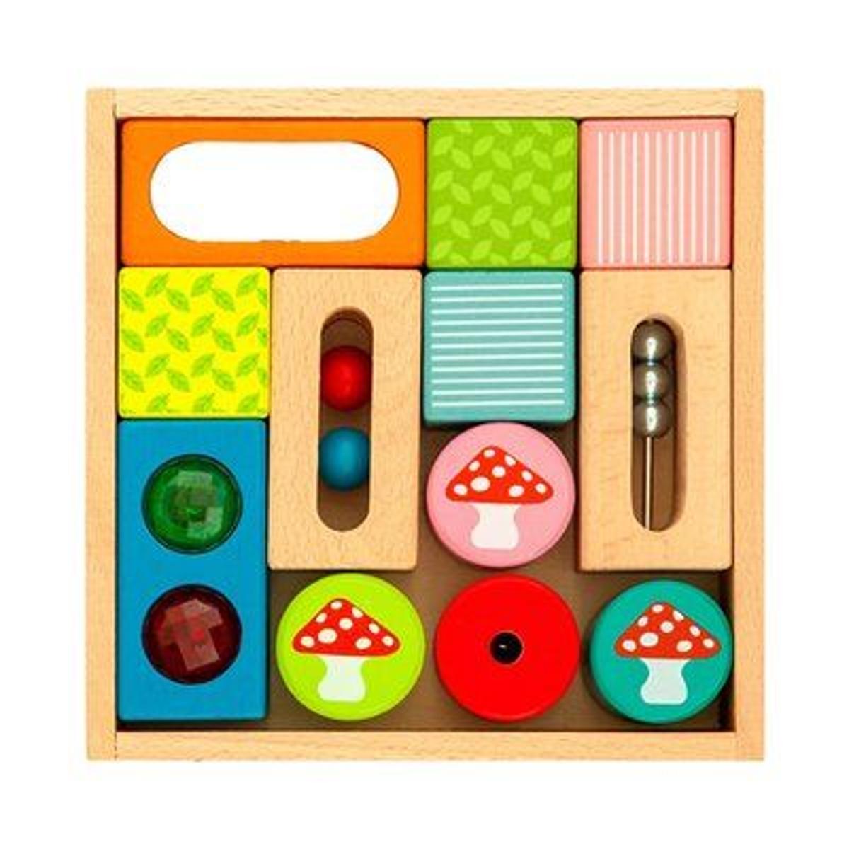 EVEREARTH Les cubes de construction «découverte» jouet en bois