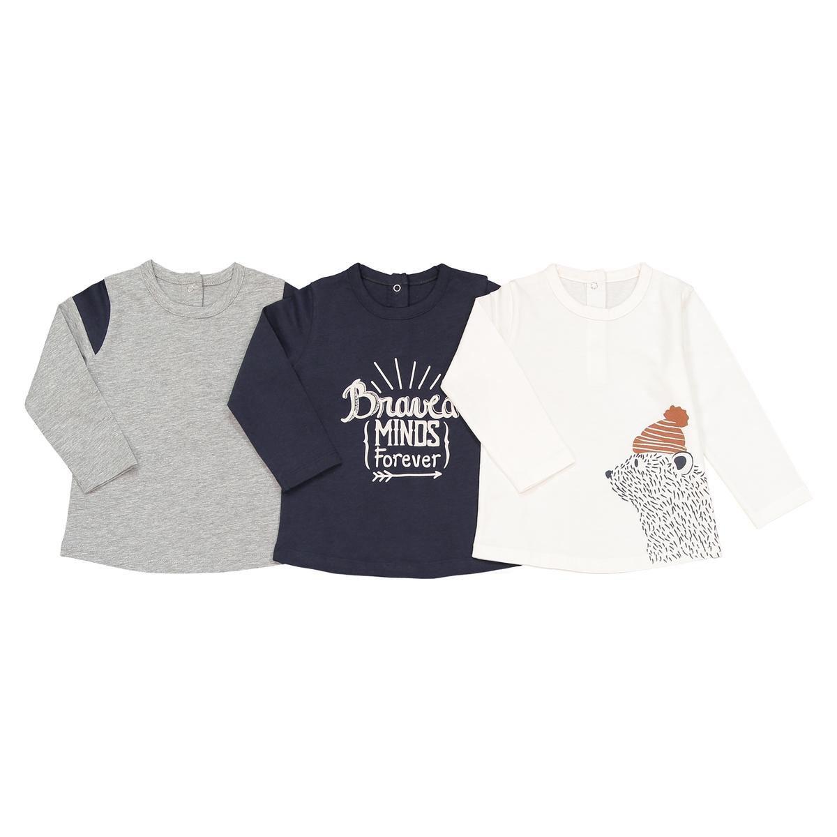 Комплект из 3 футболок с длинными рукавами, 1 мес. - 3 года комплект из 4 футболок 1 мес 3 года oeko tex