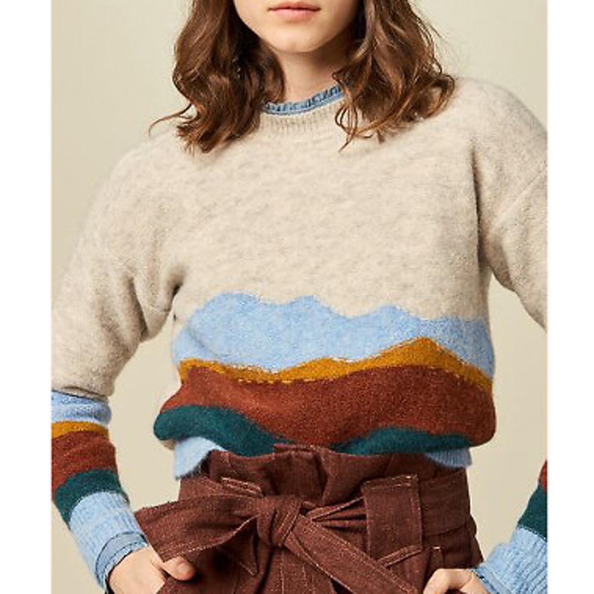 Пуловер LaRedoute С круглым вырезом из тонкого трикотажа GRAND VIEW XS бежевый