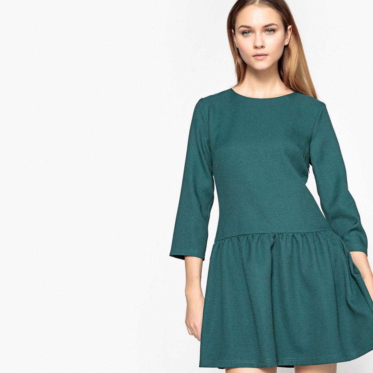 Платье однотонное расклешенного и короткого покроя с рукавами 3/4Детали •  Форма : расклешенная •  Укороченная модель •  Рукава 3/4    •  Круглый вырез Состав и уход •  5% эластана, 95% полиэстера  •  Следуйте рекомендациям по уходу, указанным на этикетке изделия<br><br>Цвет: сине-зеленый