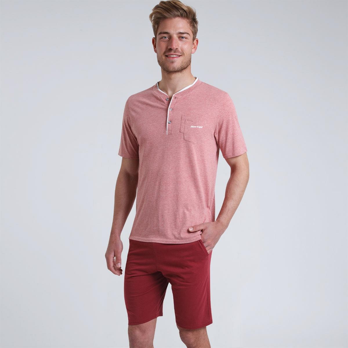 цена Пижама La Redoute С шортами с круглым вырезом с разрезом спереди Chin XL красный онлайн в 2017 году