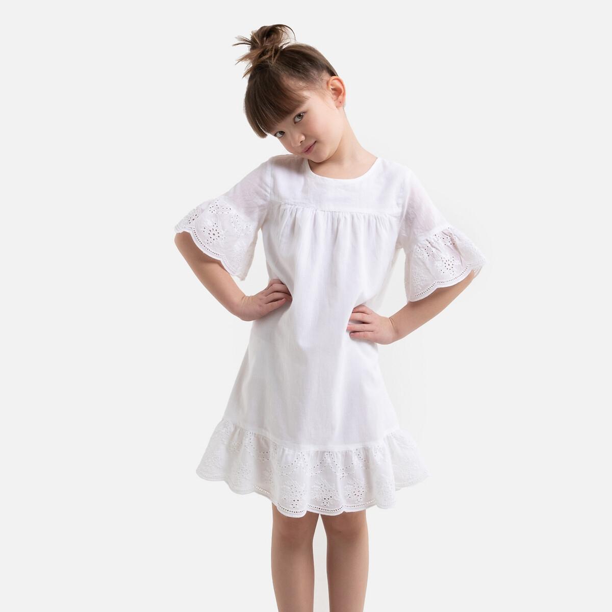 Фото - Платье LaRedoute С вышивкой и короткими рукавами 3-12 лет 5 лет - 108 см белый платье laredoute с короткими рукавами из хлопчатобумажной газовой ткани 3 12 лет 3 года 94 см розовый